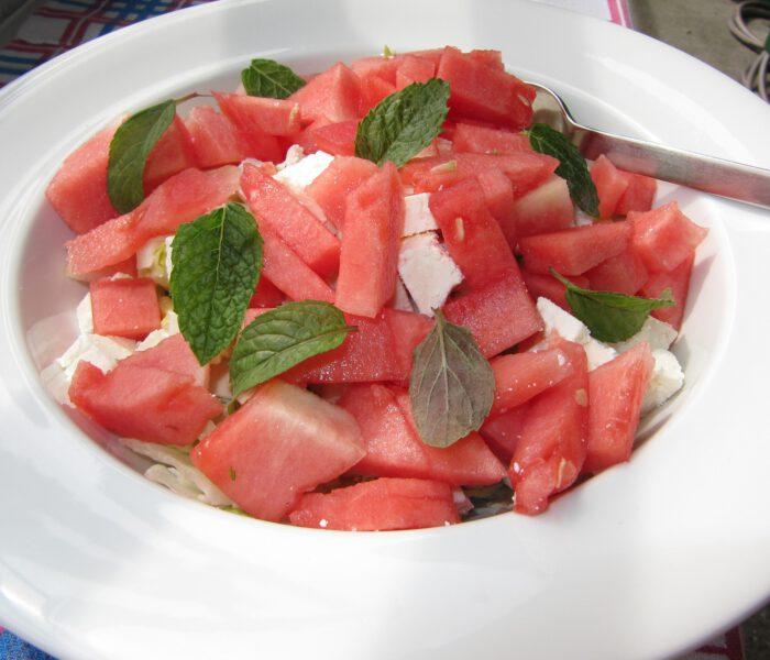 Recept voor watermeloen met feta en munt
